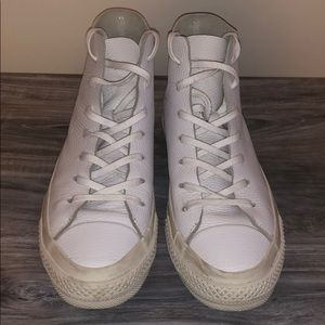 Converse ALL WHITE Leather High Tops
